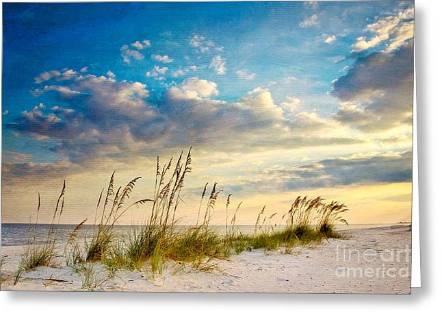 Mississippi Gulf Coast Greeting Cards - Sea Oats Sunset Greeting Card by Joan McCool