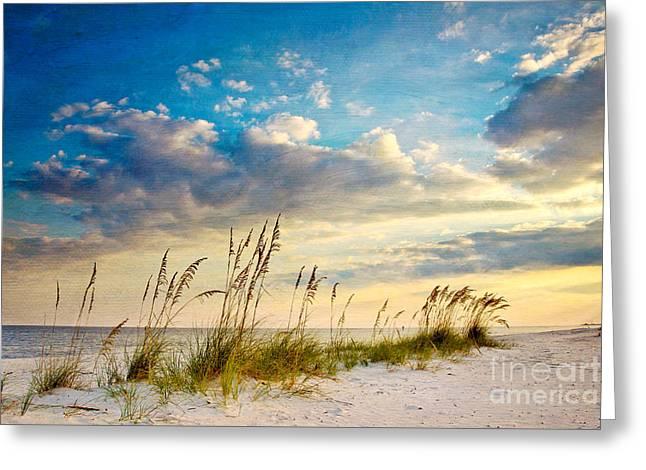 Sea Oats Sunset Greeting Card by Joan McCool