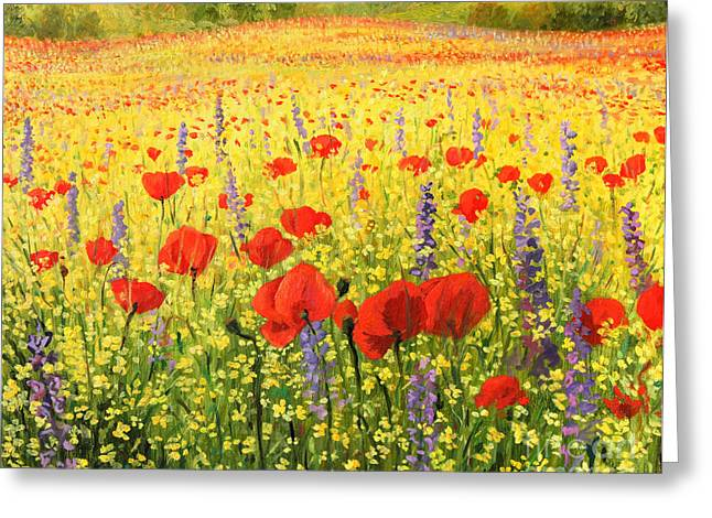 Violet Art Greeting Cards - Sea of Blossom Greeting Card by Kiril Stanchev