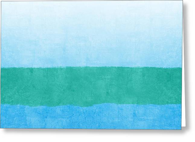 Abstract Beach Landscape Greeting Cards - Sea of Blues Greeting Card by Linda Woods