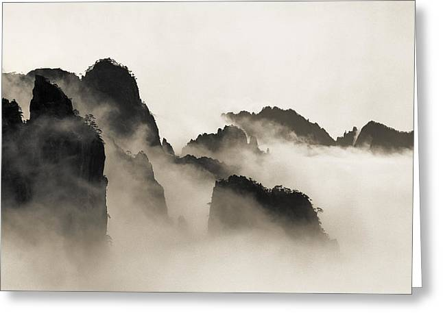 Mist Greeting Cards - Sea of Clouds Greeting Card by King Wu