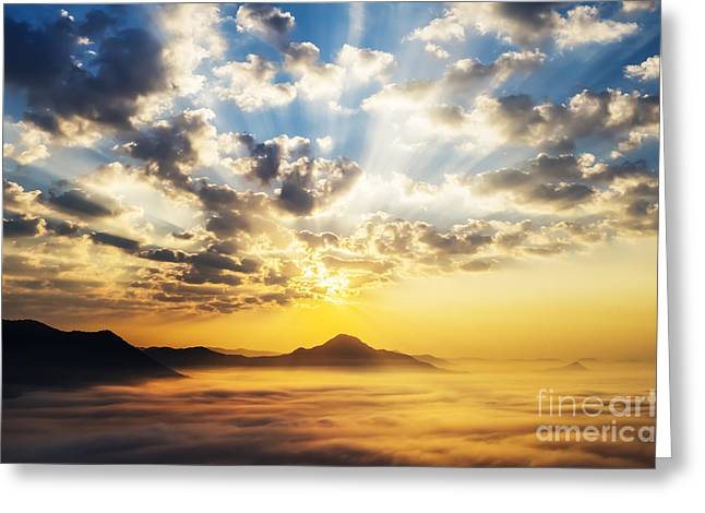 Scenario Greeting Cards - Sea of clouds on sunrise with ray lighting Greeting Card by Setsiri Silapasuwanchai