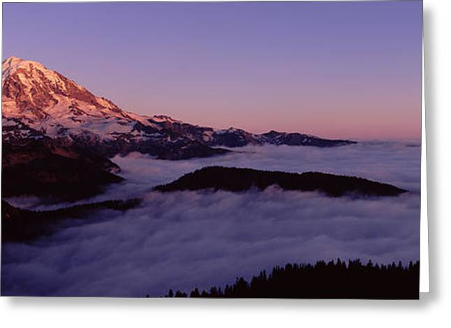 Pierce County Greeting Cards - Sea Of Clouds With Mountains Greeting Card by Panoramic Images