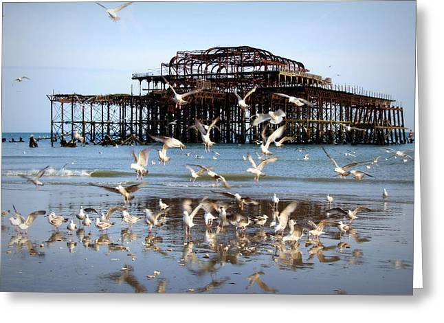 Seagulls On The Sand Greeting Cards - Sea of Disruption Greeting Card by Paul Chessell