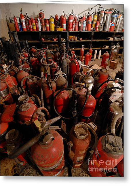 Hoarding Greeting Cards - Sea of Fire Extinguishers Greeting Card by Amy Cicconi