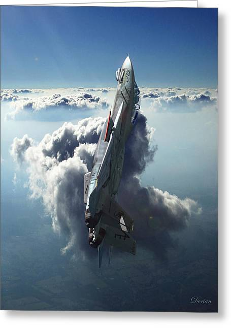 Military Aircraft Greeting Cards - Sea of Light Greeting Card by Dorian Dogaru