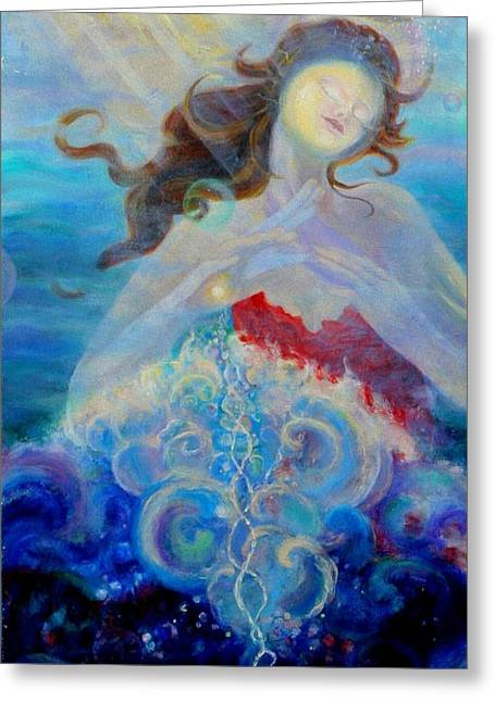 Anne Cameron Cutri Greeting Cards - Sea of the Soul Figure detail Greeting Card by Anne Cameron Cutri