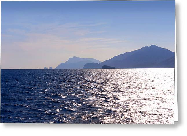Pavarotti Greeting Cards - Sea off the Amalfi Coast Greeting Card by Brenda Kean