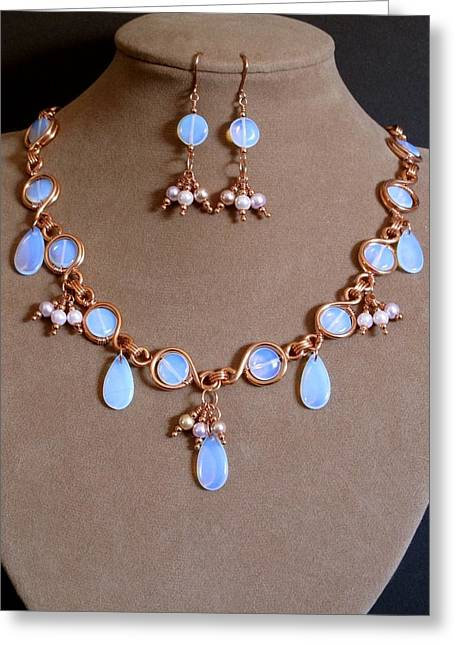 Gold Necklace Mixed Media Greeting Cards - Sea Opal with Copper and Pearl Greeting Card by Jan Brieger-Scranton