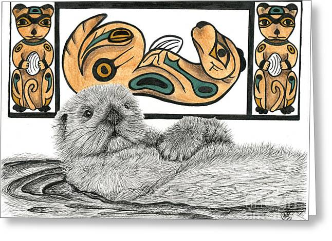 Recently Sold -  - Ink Drawing Greeting Cards - Sea Otter Totem Greeting Card by Christine Matha