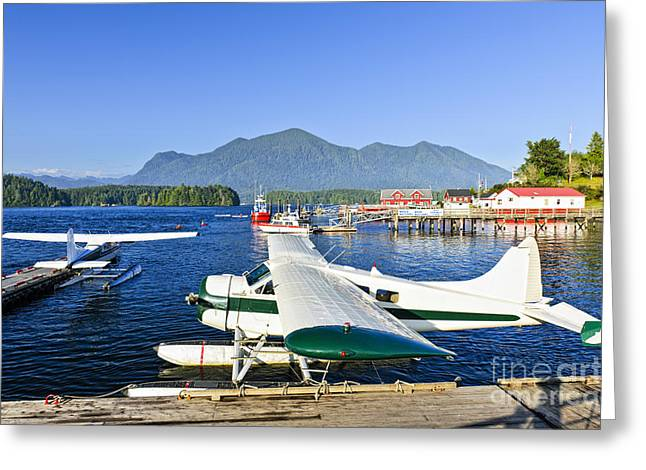 Bc Coast Greeting Cards - Sea planes at dock in Tofino Greeting Card by Elena Elisseeva