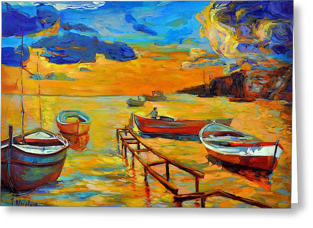 Abstract Beach Landscape Greeting Cards - Sea scenery Greeting Card by Ivailo Nikolov