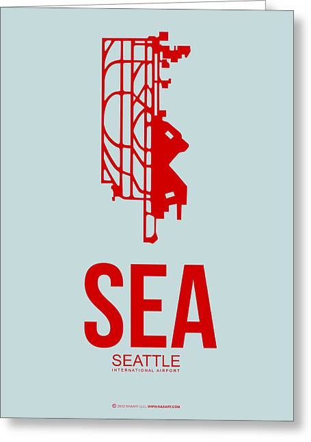 Town Mixed Media Greeting Cards - SEA Seattle Airport Poster 1 Greeting Card by Naxart Studio