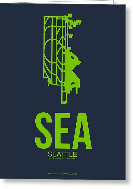 Seattle Washington Greeting Cards - SEA Seattle Airport Poster 2 Greeting Card by Naxart Studio