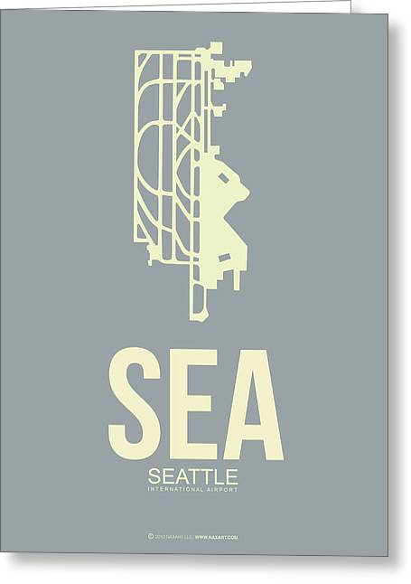 Seattle Washington Greeting Cards - SEA Seattle Airport Poster 3 Greeting Card by Naxart Studio