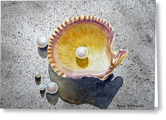 Sea Shell Greeting Cards - Sea Shell and Pearls Greeting Card by Irina Sztukowski