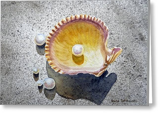 Sea Shell And Pearls Greeting Card by Irina Sztukowski