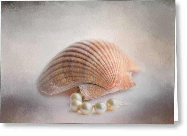 Pearl Bracelet Greeting Cards - Sea Shell and Pearls Greeting Card by Jai Johnson