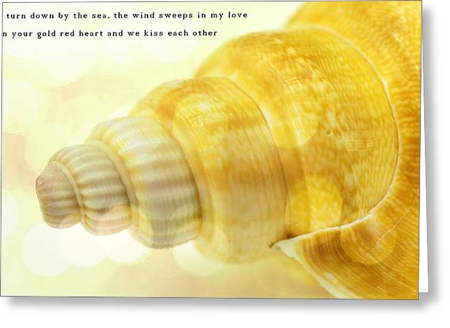 Shell Texture Greeting Cards - Sea shell in gold color Greeting Card by Toppart Sweden