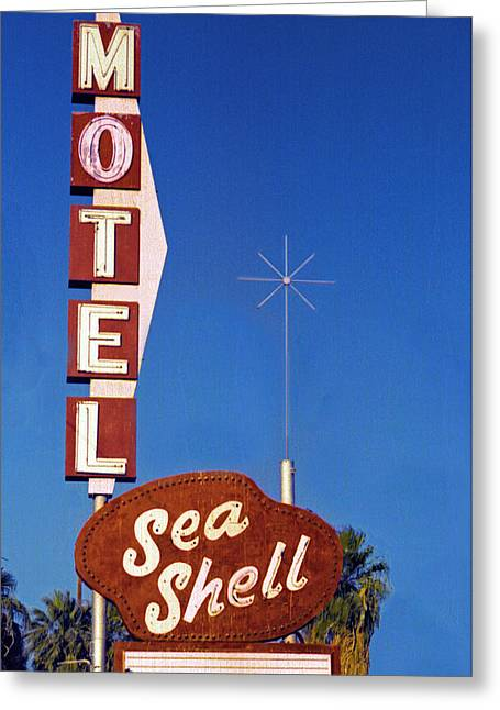Sea Route Greeting Cards - Sea Shell Motel Film Image Greeting Card by Matthew Bamberg