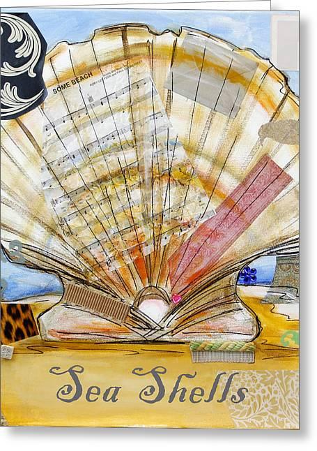 Sea Shell Art Mixed Media Greeting Cards - Sea Shells Greeting Card by Katia Von Kral