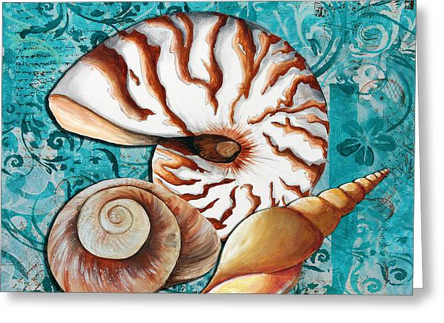 Sea Shells Original Coastal Painting Colorful Nautilus Art by Megan Duncanson Greeting Card by Megan Duncanson