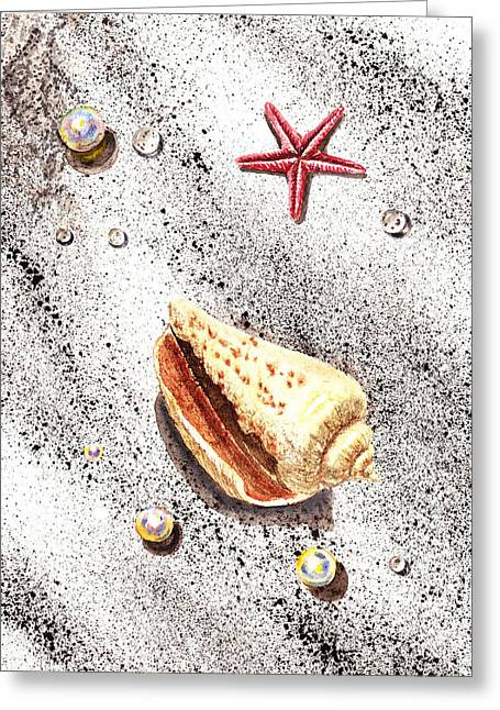 Interior Still Life Paintings Greeting Cards - Sea Shells Pearls Water Drops and Seastar  Greeting Card by Irina Sztukowski