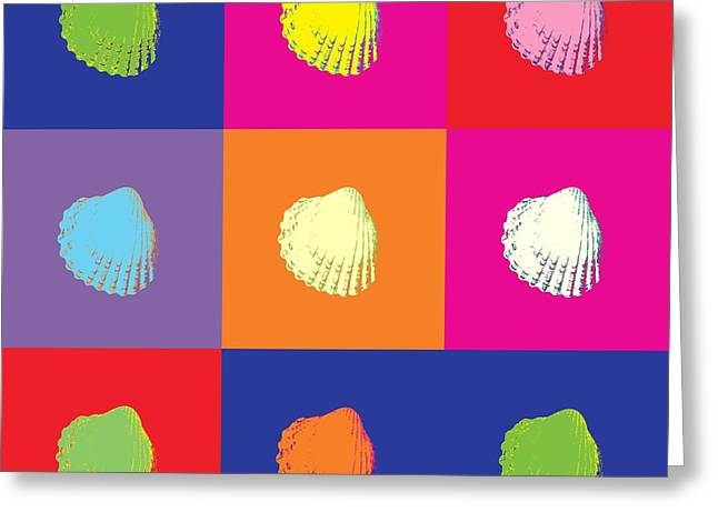 Sea Shells Popart Greeting Card by Toppart Sweden