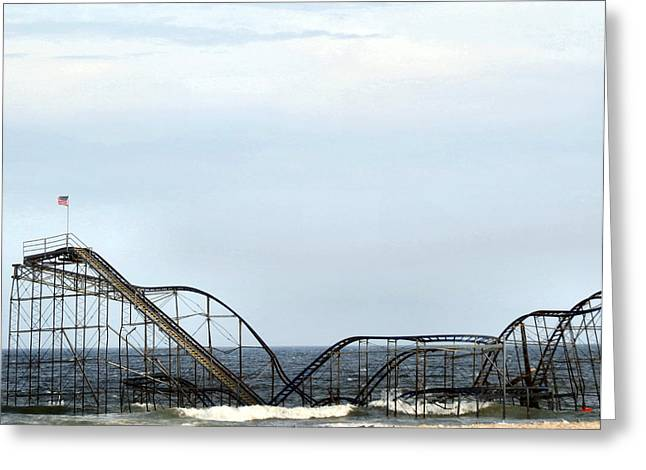 Hurricane Sandy Photographs Greeting Cards - Sea Side Roller Coaster Greeting Card by Michelle Milano