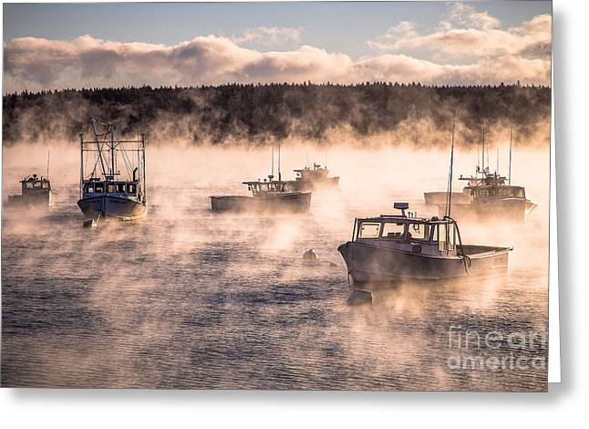 Seascape. Winter Greeting Cards - Sea Smoke and Lobster Boats Greeting Card by Benjamin Williamson