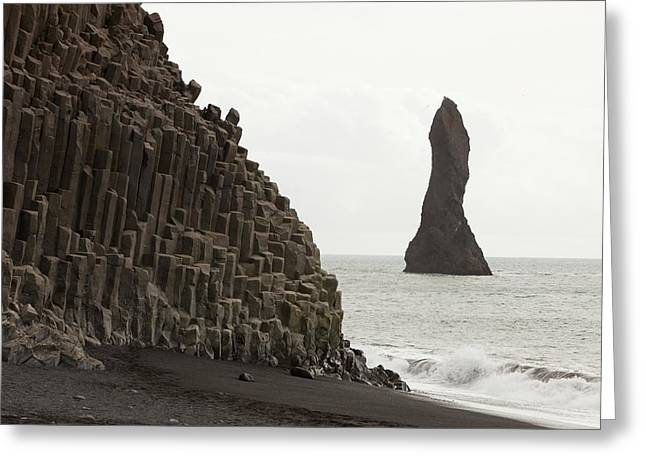 Sea Stack And Basalt Columns Greeting Card by Ashley Cooper