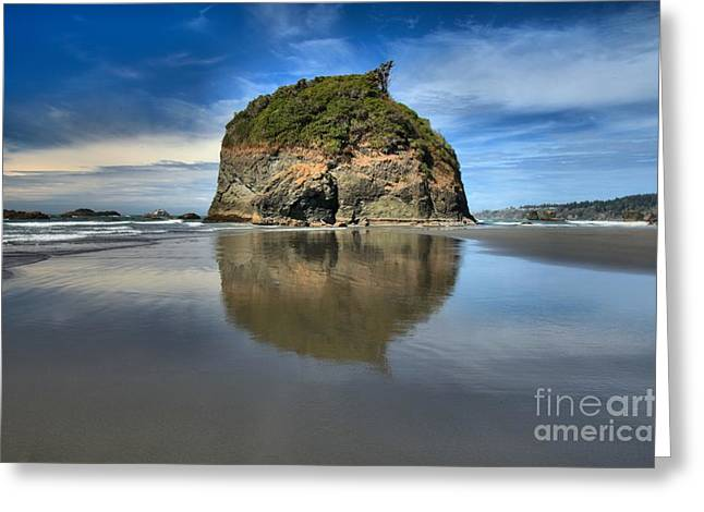 Sea Stack Mirror Greeting Card by Adam Jewell