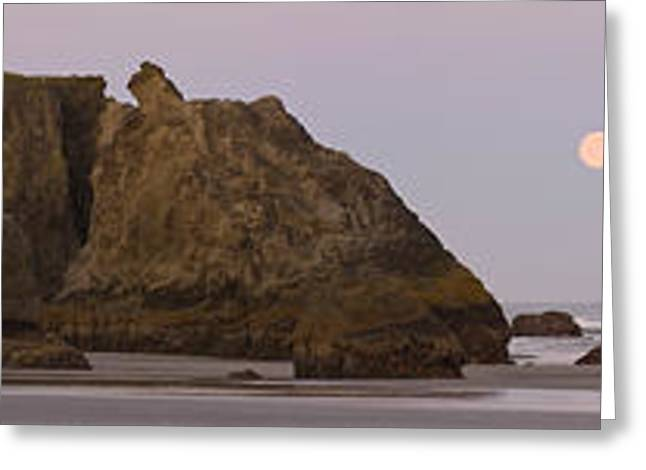 Moon Beach Greeting Cards - Sea Stacks And Setting Moon At Dawn Greeting Card by Panoramic Images