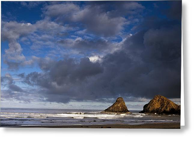 Sea Stacks At Dawn Greeting Card by Andrew Soundarajan