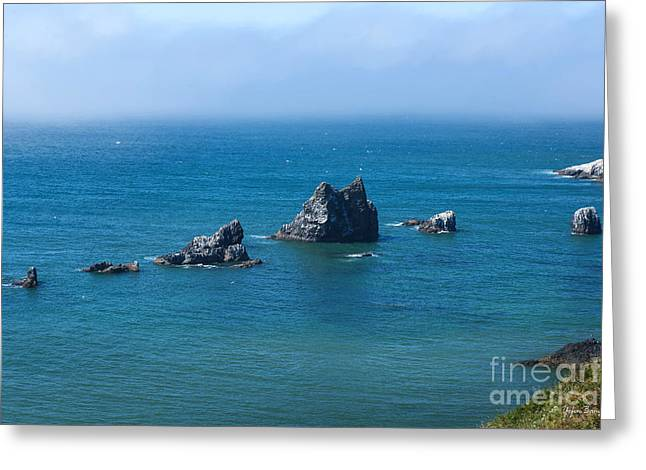 Fog At Sea Greeting Cards - Sea Stacks at Ecola Point Greeting Card by Yefim Bam