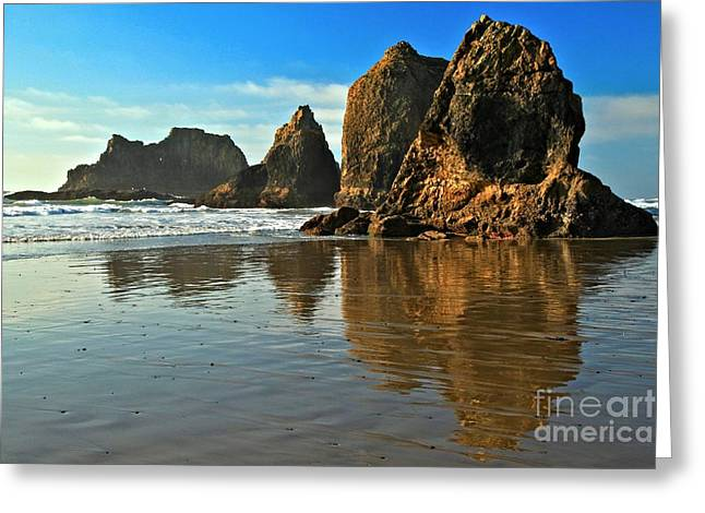 Oregon Sea Stacks Greeting Cards - Sea Stacks At Oceanside Greeting Card by Adam Jewell