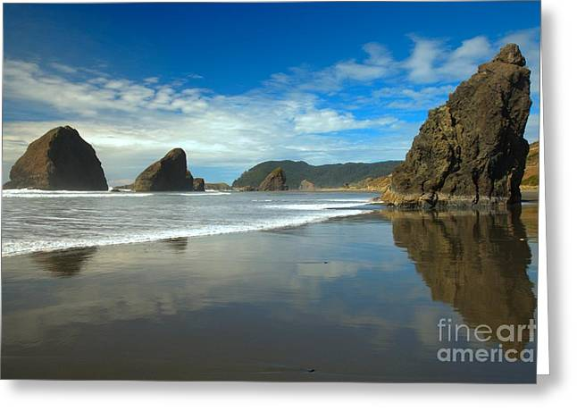 Reflections In River Greeting Cards - Sea Stacks In Blue Greeting Card by Adam Jewell