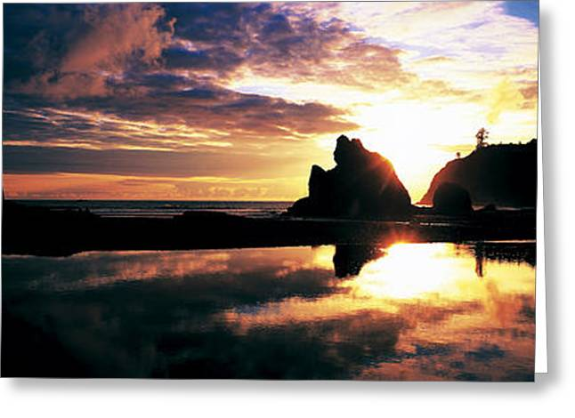 Sea Stack Reflections Greeting Cards - Sea Stacks Rialto Beach Olympic Greeting Card by Panoramic Images