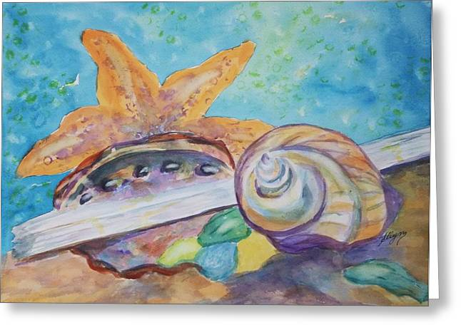 Sea Shell Art Tapestries - Textiles Greeting Cards - Sea Star-Abalone-Snail Shell Greeting Card by Ellen Levinson