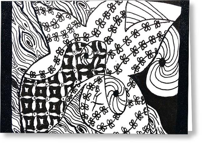 Wood Grain Drawings Greeting Cards - Sea Star Greeting Card by Beverley Harper Tinsley