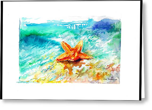 Graphics Framed Prints Greeting Cards - Sea Star Greeting Card by Lina Tumarkina