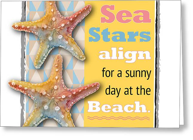 Beach Themed Paintings Greeting Cards - Sea Stars align for a sunny day at the Beach. Greeting Card by Amy Kirkpatrick