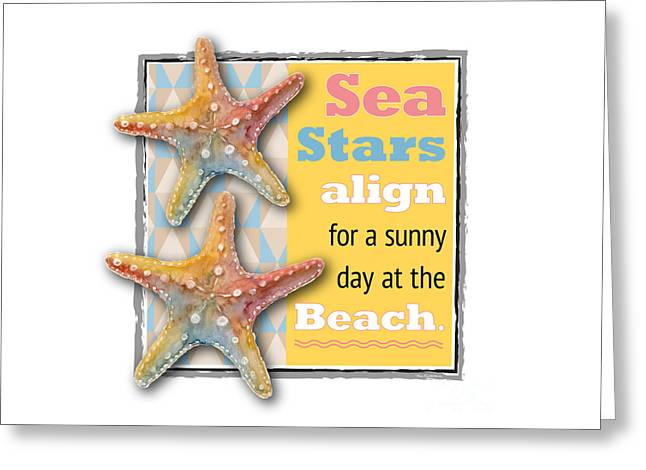 Sea Stars Align For A Sunny Day At The Beach. Greeting Card by Amy Kirkpatrick