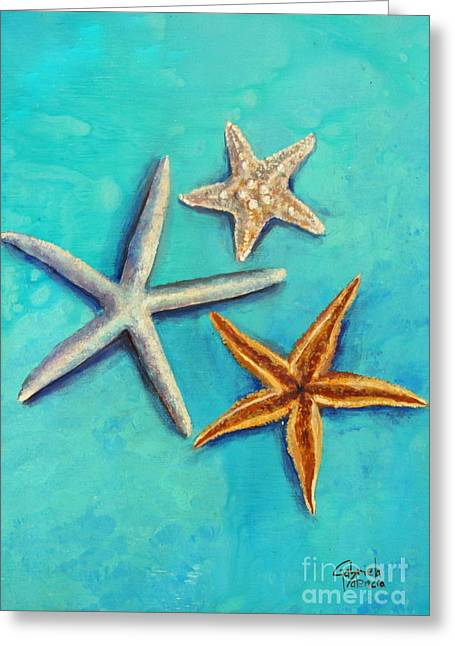 Seashell Picture Paintings Greeting Cards - Sea Stars Fantasy Greeting Card by Gabriela Valencia