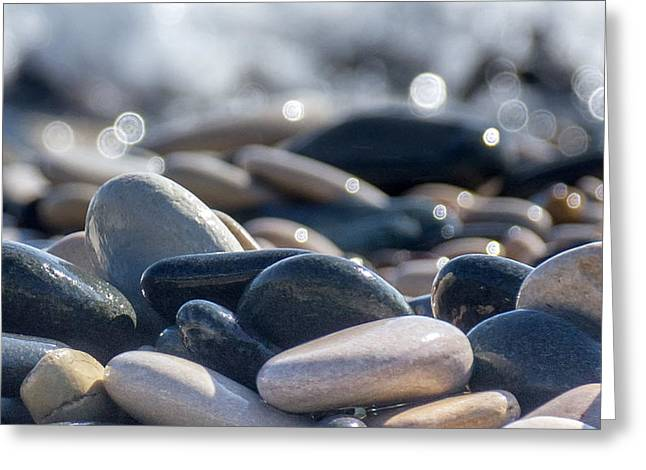 Beach Scenery Greeting Cards - Sea Stones  Greeting Card by Stylianos Kleanthous