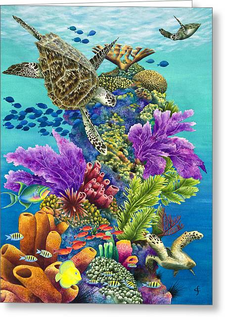Tortoise Greeting Cards - Sea Summit Greeting Card by Carolyn Steele