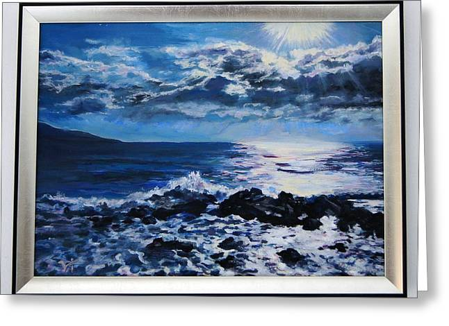 Weves Greeting Cards - Sea sunrise - oil painting Greeting Card by Ivelin Vlaykov