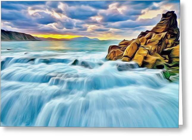 Surf Silhouette Paintings Greeting Cards - Sea sunset Greeting Card by Lanjee Chee