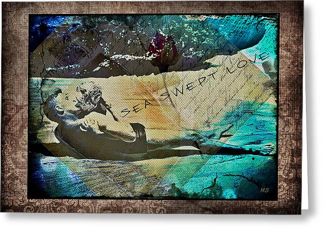 Couple Kissing On Beach Greeting Cards - Sea Swept Love Greeting Card by Absinthe Art By Michelle LeAnn Scott