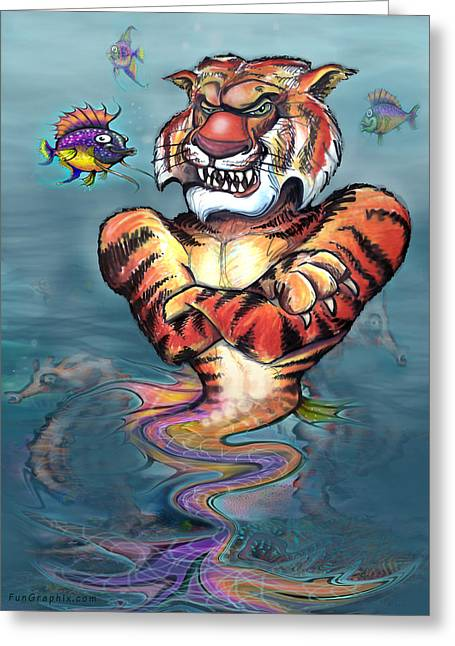 Tiger Greeting Cards - Sea Tiger Greeting Card by Kevin Middleton